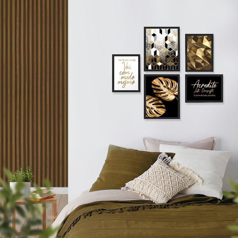 Kit 5 Quadros Decorativos Moldura Preta com Frases Motivacionais para Sala 95x89cm - Hugart