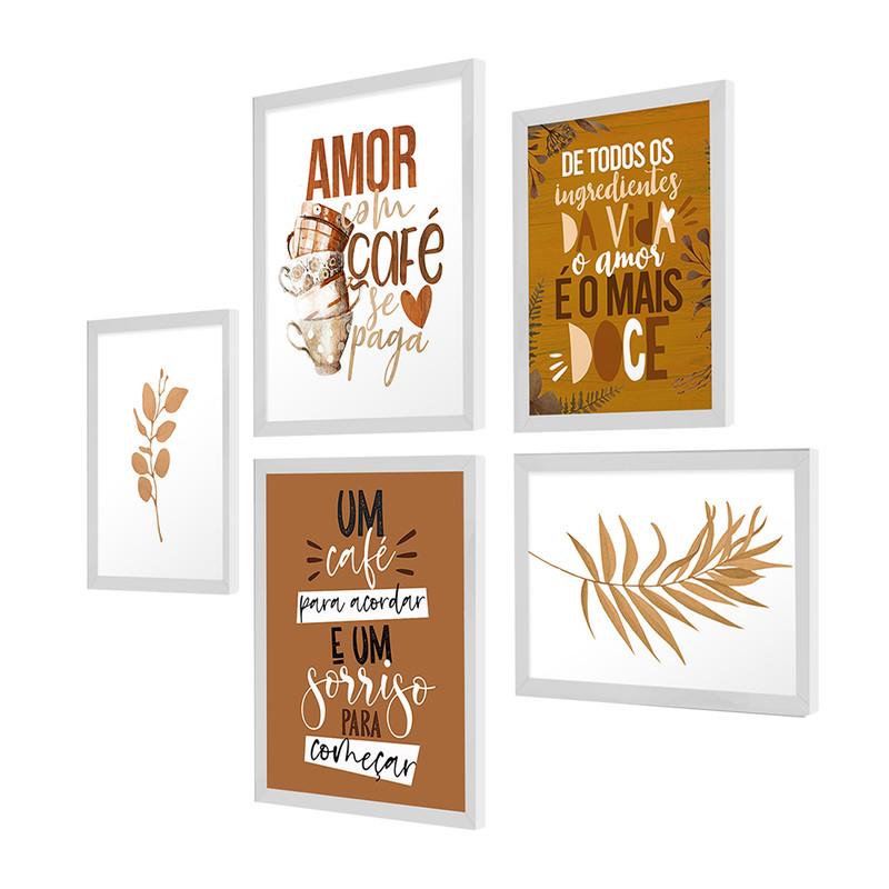 Kit 5 Quadros Decorativos para Cozinha 95x89cm Café Ramos Amor Frase Moldura - Hugart