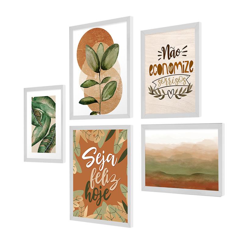 Kit 5 Quadros Decorativos para Escritório 95x89cm Folhas Verdes Plantas Frase Natureza - Hugart