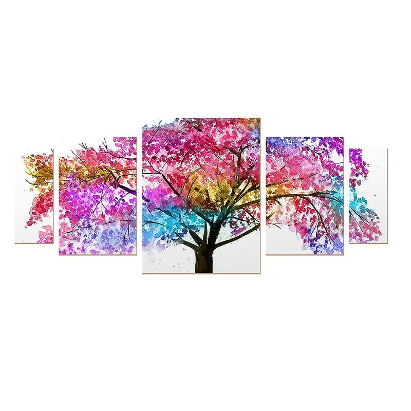 Kit 5 Quadros sem Moldura Árvore Colorida Decoração Sala