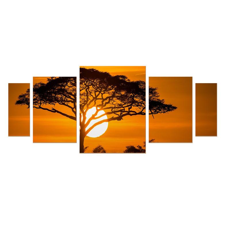 Kit 5 Quadros sem Moldura Árvore Paisagem Sol Decoração Sala