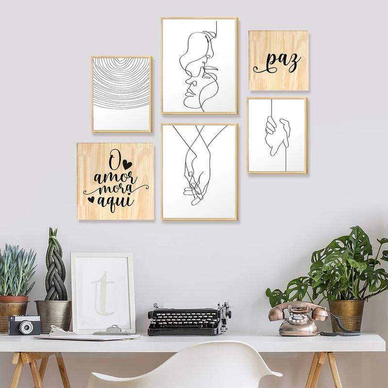 Kit 6 Quadros Decoração Ambiente Quarto Casal Frases Amor com Moldura Caixa Pinus - Hugart