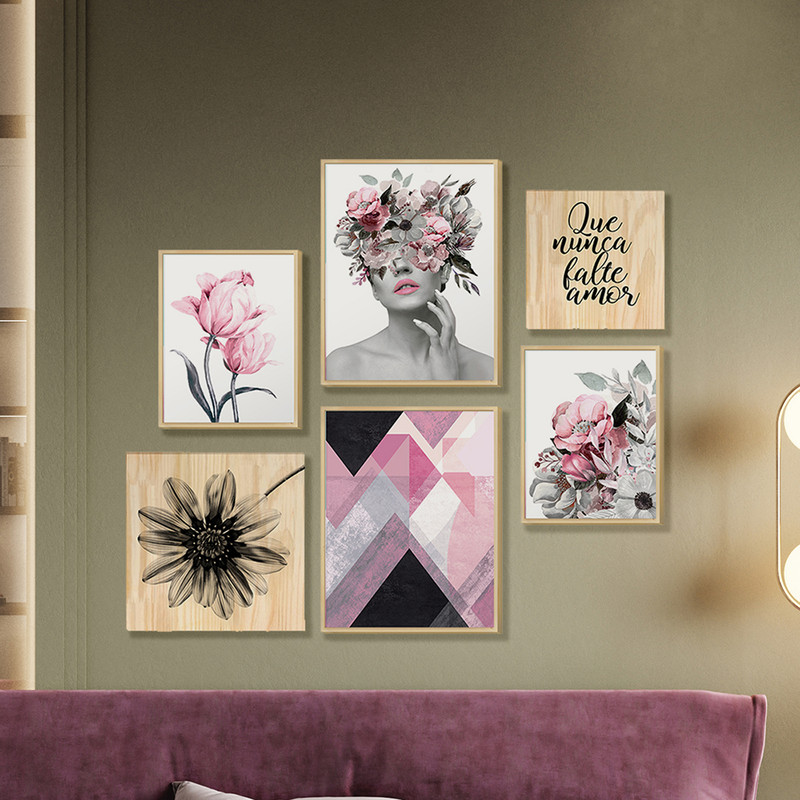 Kit 6 Quadros Decorativo para Quarto Casal Floral Rosa e Mulher Surreal 88x84cm-  Hugart