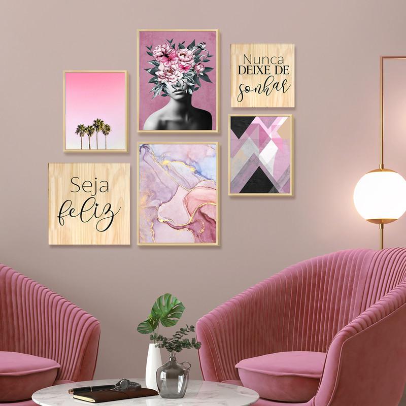 Kit 6 Quadros Decorativos Hall Entrada Moldura Caixa Pinus Frases Feminino Moderno Colorido - Hugart