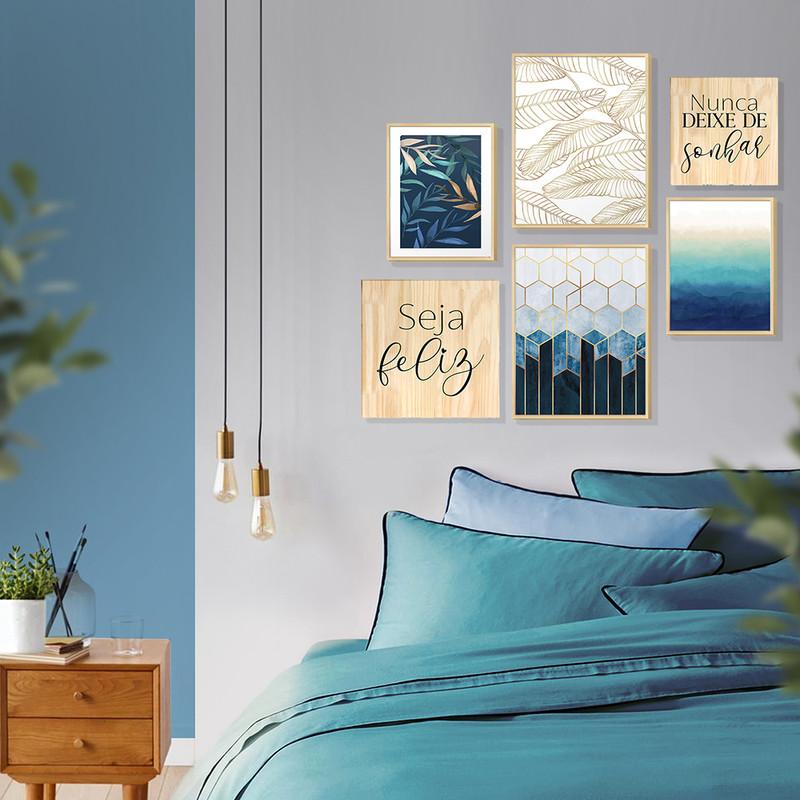 Kit 6 Quadros Decorativos Modernos 88x84cm com Frases e Degradê de Tons Azuis para Quarto - Hugart
