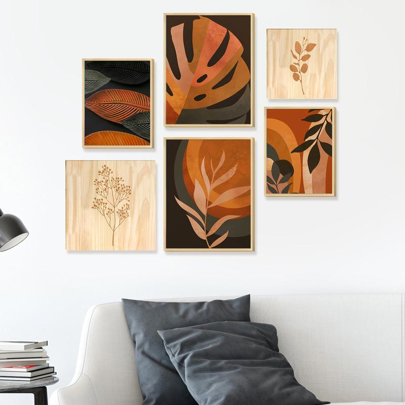 Kit 6 Quadros Decorativos para Cozinha Salas Com Moldura Caixa Folhagens Coloridas - Hugart