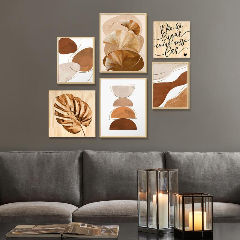 Kit 6 Quadros Decorativos para Sala Estar com Moldura Caixa e Folhas Frases Lar - Hugart