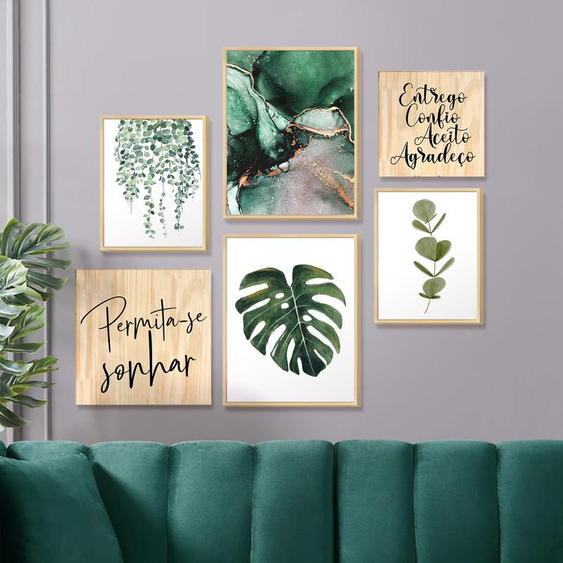 Kit 6 Quadros Decorativos Temáticos para Cozinha com Moldura Caixa Folhagens Verdes Frases - Hugart