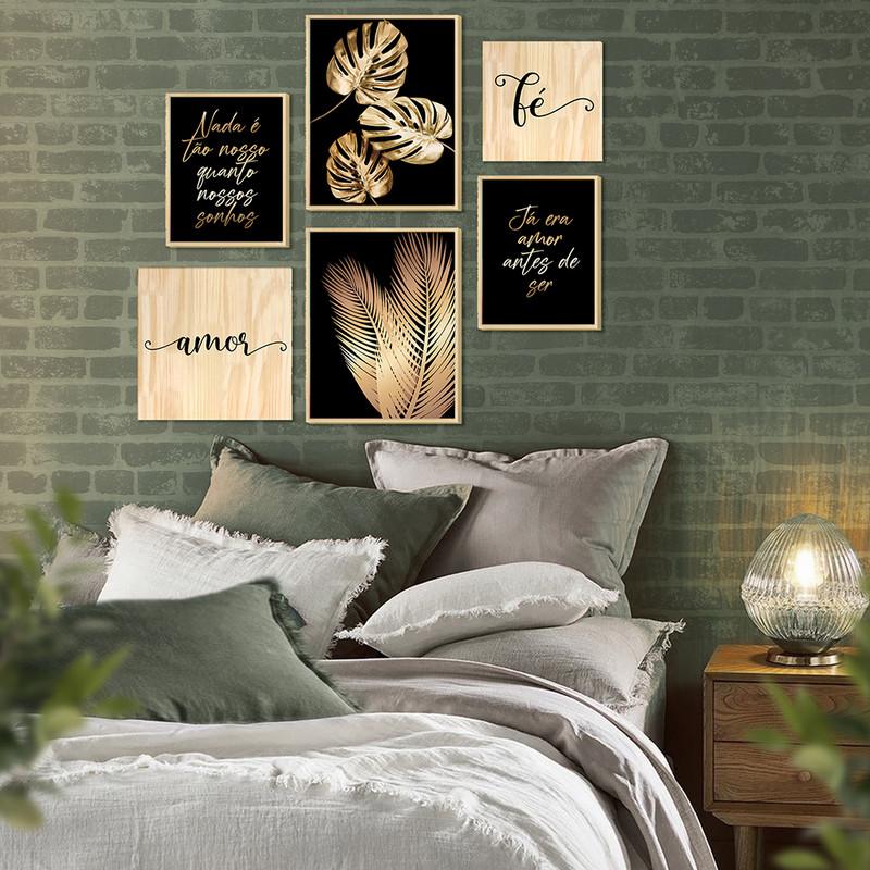 Kit 6 Quadros Modernos Decorativos 88x84cm para Sala com Folhas e Frases Douradas - Hugart
