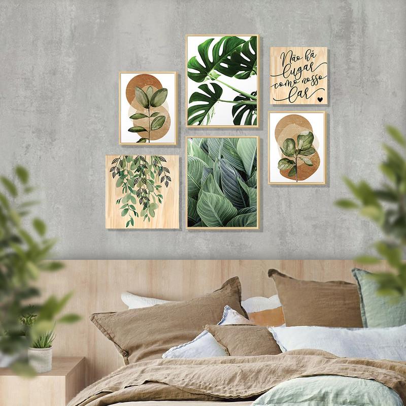 Kit 6 Quadros Modernos Decorativos para Quarto Casal 88x84cm Folhas Verdes e Moldura Pinus -Hugart