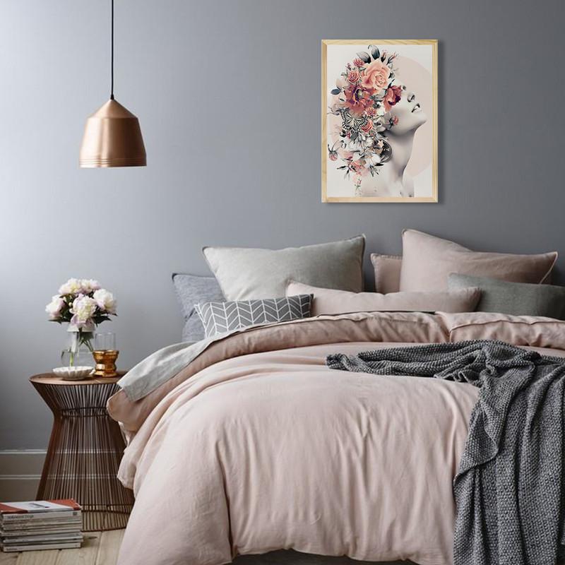 Quadro com Moldura Decorativa Pinus para Sala 40x60cm Mulher Flores Surreal Moderno - Hugart