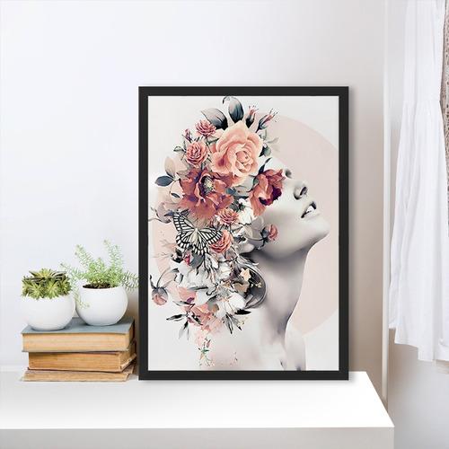 Quadro Com Moldura Feminino Flores Rose Surreal Moderno