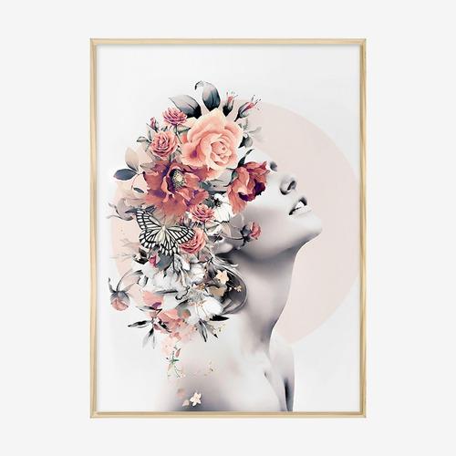 Quadro Com Moldura Mulher Flores Rose Surreal Moderno Sala