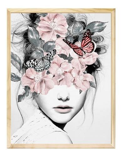 Quadro Com Moldura Mulher Flores Surreal Moderno Sala Quarto