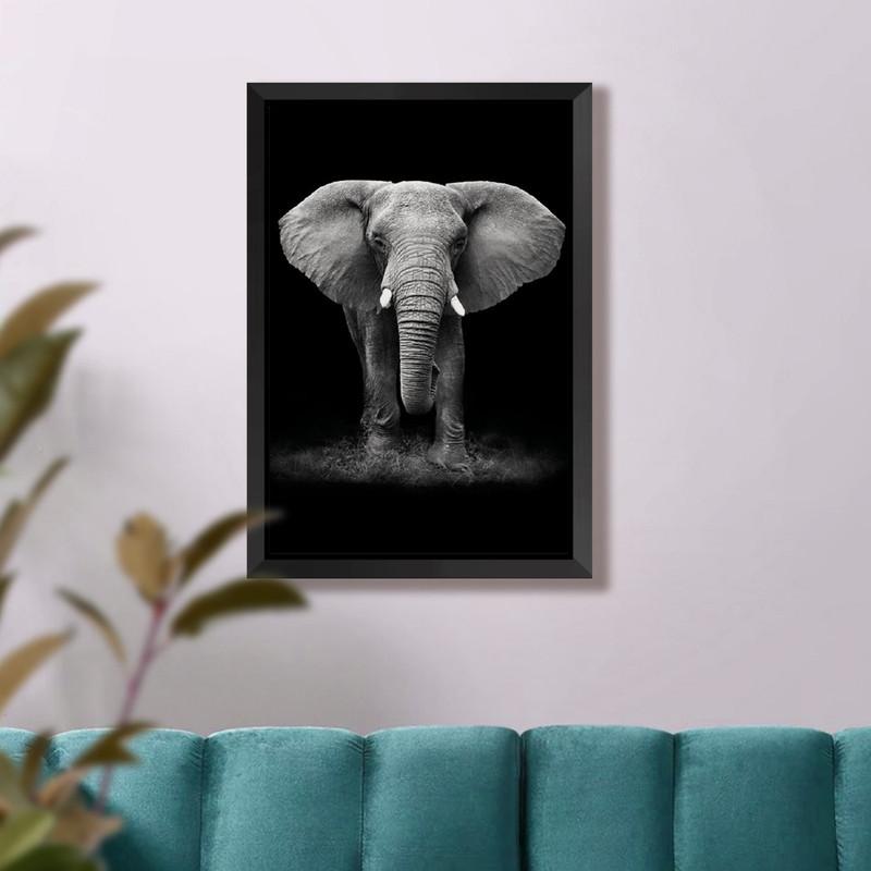 Quadro com Moldura Preta Elefante Elegante Escritório 43x63cm - Hugart
