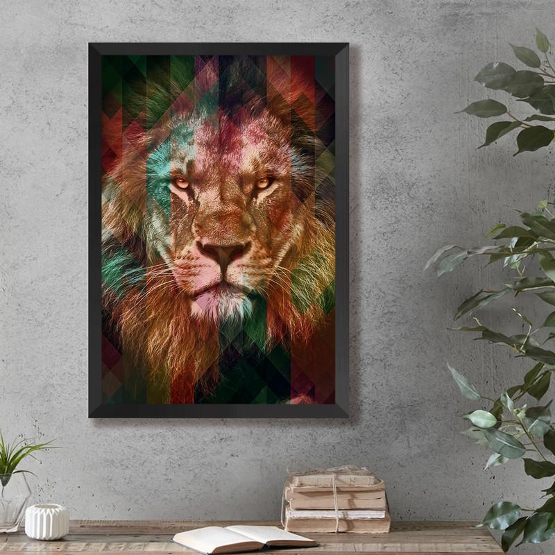 Quadro com Moldura Preta Leão Colorido Moderno Sala 43x63cm - Hugart