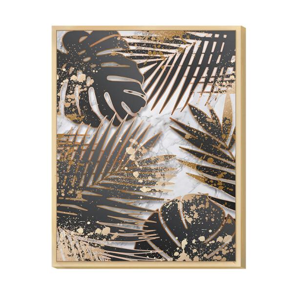 Quadro de Parede para Corredor 30x40cm Folhagens Black e Gold com Moldura Caixa Pinus - Hugart