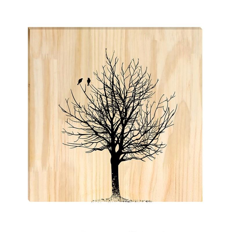 Quadro de Pinus Decorativo Árvore 30x30