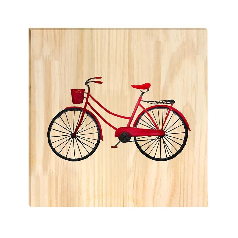 Quadro de Pinus Decorativo Bicicleta 30x30