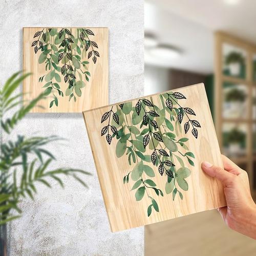 Quadro De Pinus Decorativo Folhagem Planta Verde Jardim