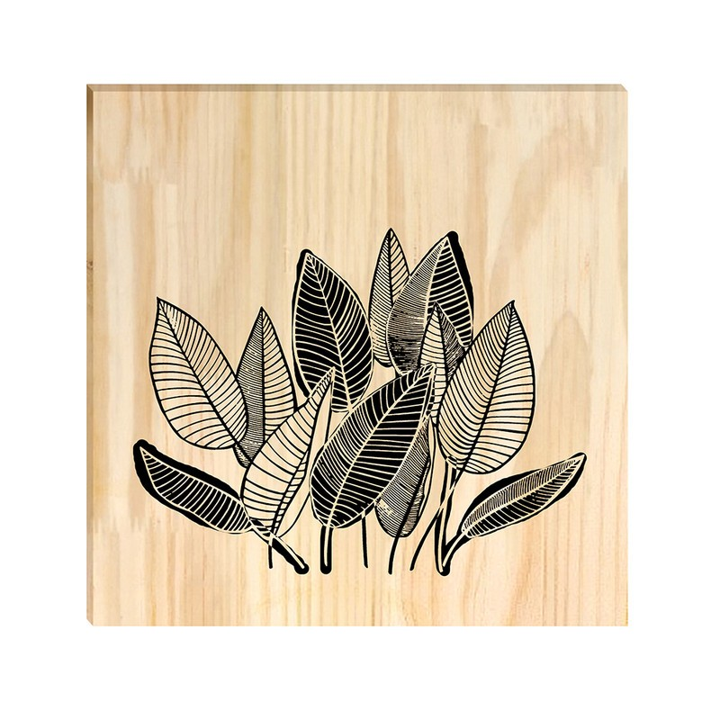 Quadro de Pinus Decorativo Folhas Desenho 20x20
