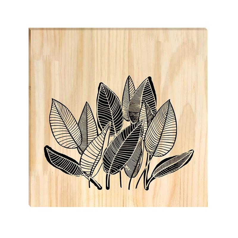 Quadro de Pinus Decorativo Folhas Desenho 30x30