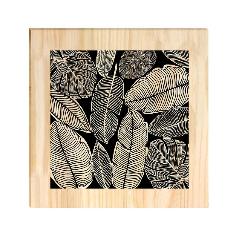 Quadro de Pinus Decorativo Folhas Diversas 30x30