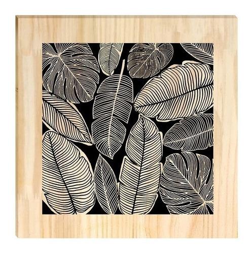 Quadro De Pinus Decorativo Folhas Diversas Folhagem Clássico
