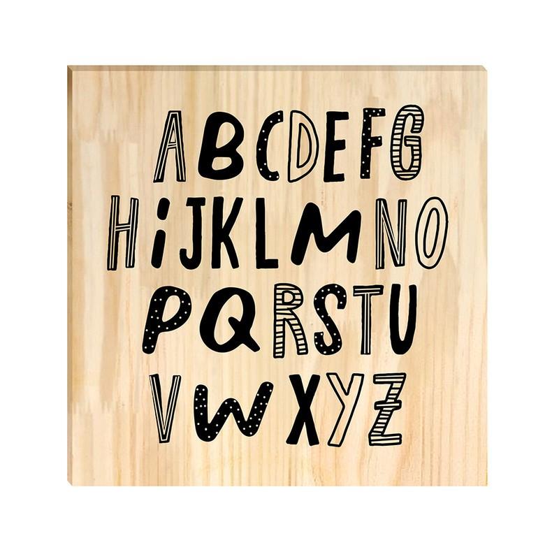 Quadro de Pinus Decorativo Infantil Alfabeto 30x30