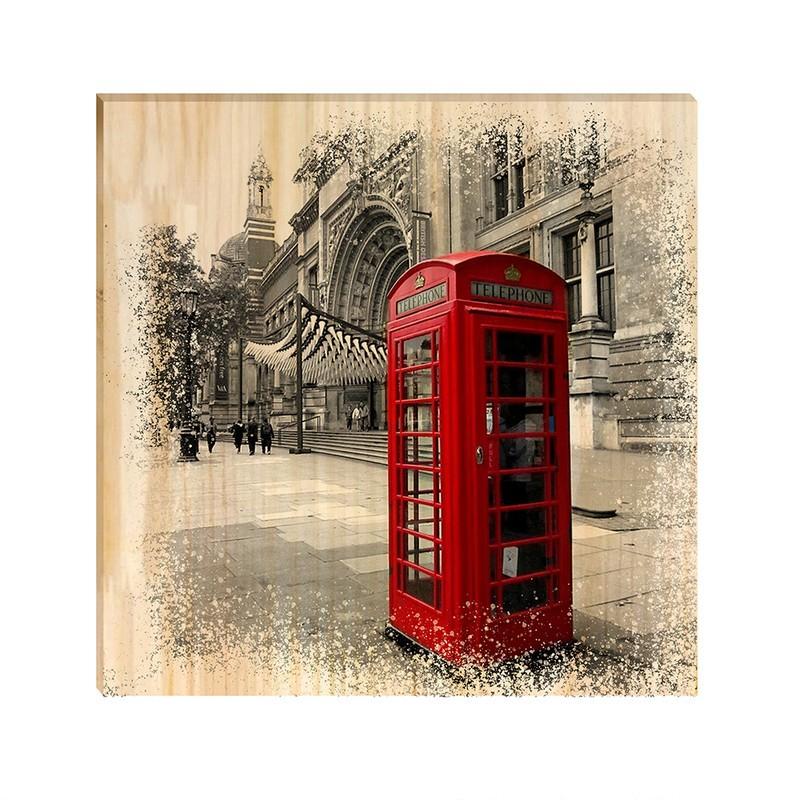 Quadro de Pinus Decorativo Paris Telefone 20x20