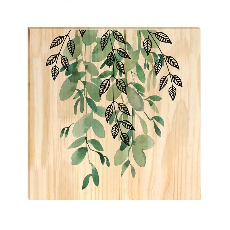 Quadro de Pinus Decorativo Planta Pendente 30x30
