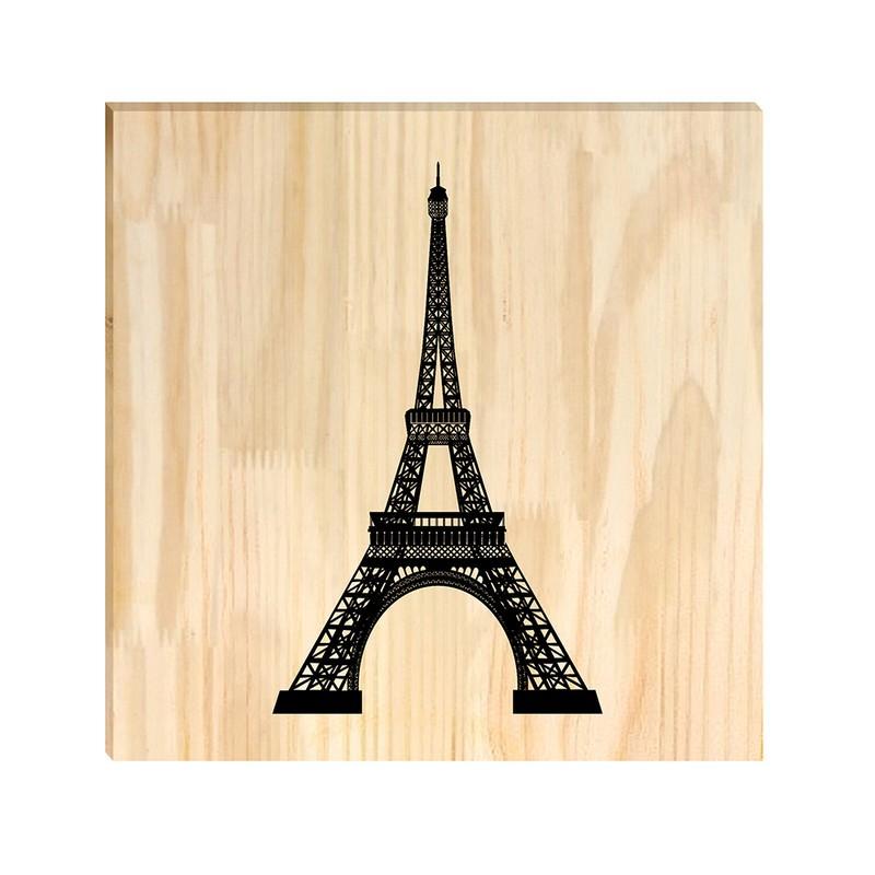 Quadro de Pinus Decorativo Torre Eiffel 30x30