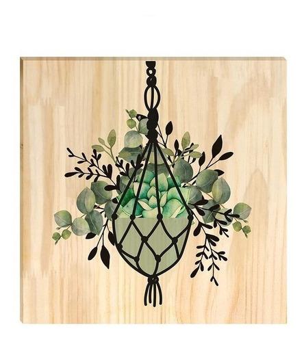 Quadro De Pinus Decorativo Vaso Folhagem Jardim Clássico
