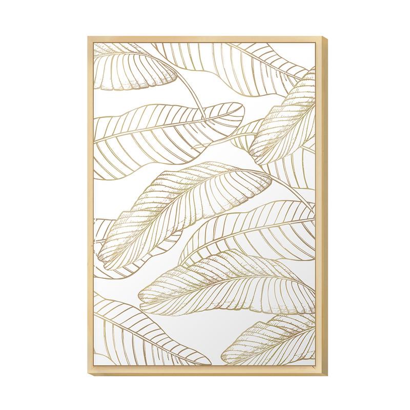 Quadro Decorativo 20x30 Folhas Elegante Sala Quarto com Moldura