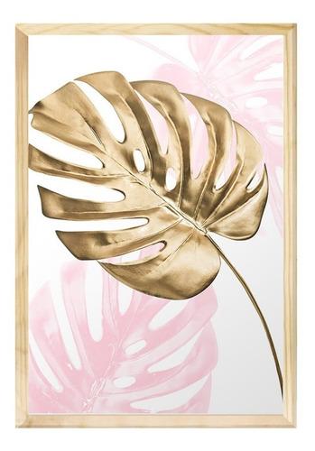 Quadro Decorativo 40x60 Folhagem Rose Moderno Sala Quarto