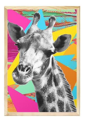 Quadro Decorativo 40x60 Girafa Colorida Sala Decoração