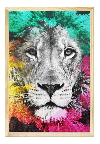 Quadro Decorativo 40x60 Leão Colorido Sala Quarto Decoração