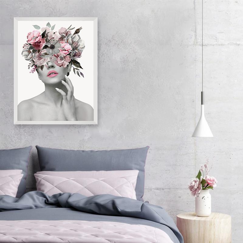 Quadro Decorativo 50X70cm com Moldura Branca Mulher Flores Rose Surreal Moderno Sala - Hugart