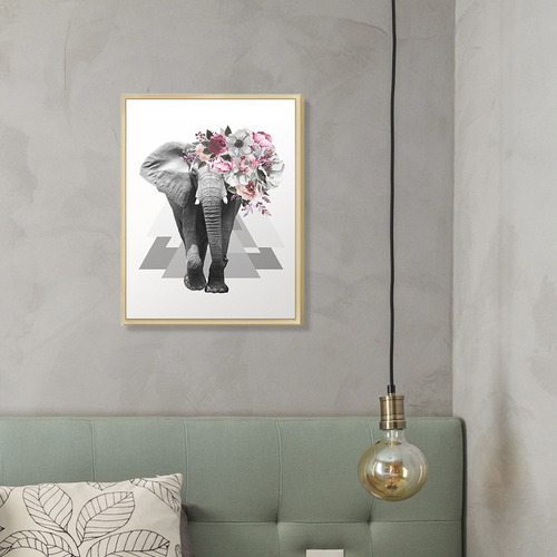 Quadro Decorativo Animal Elefante Flores Surreal Rosa