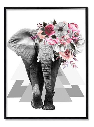 Quadro Decorativo Animal Elefante Surreal Abstrato Flores para Sala Quarto