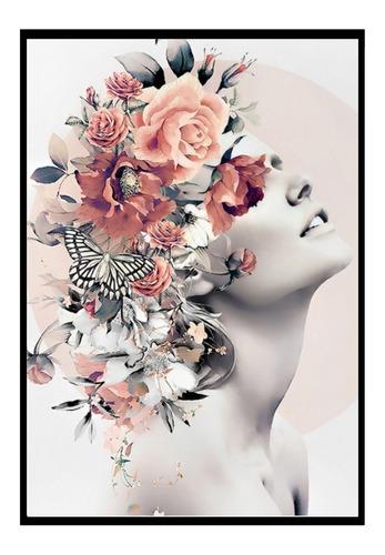 Quadro Decorativo Feminino Surreal Flores Quarto Sala 40x60