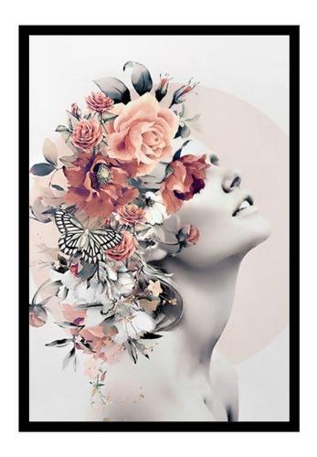 Quadro Decorativo Feminino Surreal Flores Quarto Sala 50X70