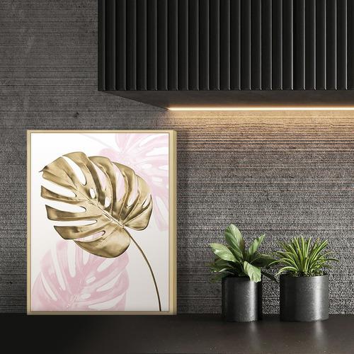 Quadro Decorativo Folha Dourada Com Moldura Sala Quarto Rose