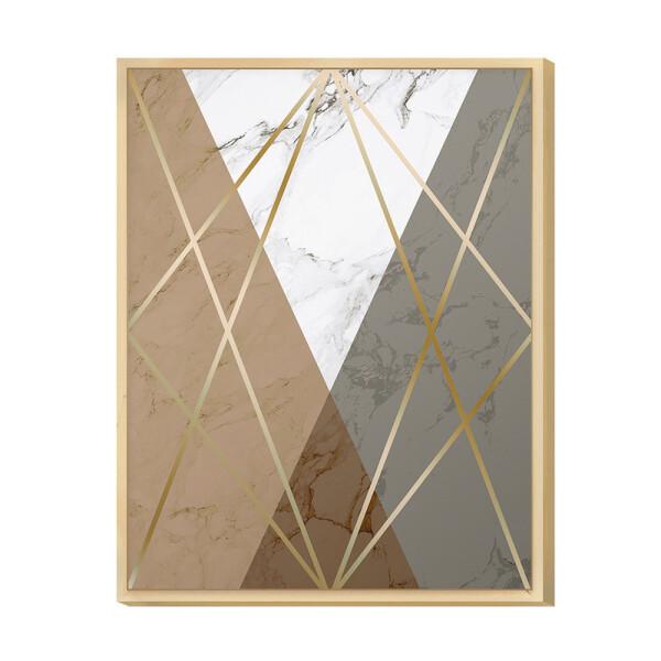 Quadro Decorativo Geométrico Dourado para Escritório 30x40cm Moldura Caixa em Pinus - Hugart