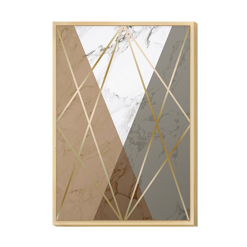 Quadro Decorativo Geométrico para Sala 20x30cm Gold Tons Pasteis com Moldura Caixa em Pinus- Hugart