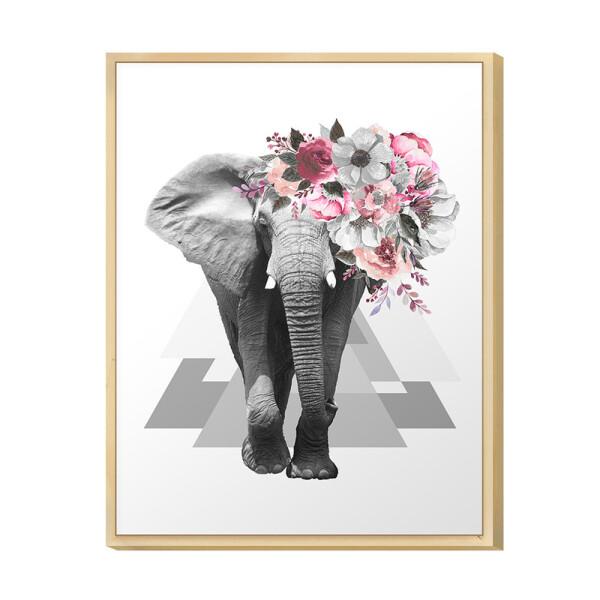 Quadro Decorativo Hall de Entrada 30x40cm Surreal Animal Elefante Floral Rosa Moderno - Hugart