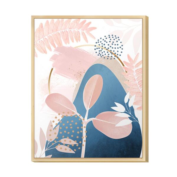 Quadro Decorativo Moderno para Escritório 30x40cm com Desenho Plantas Rose Tom Azul - Hugart