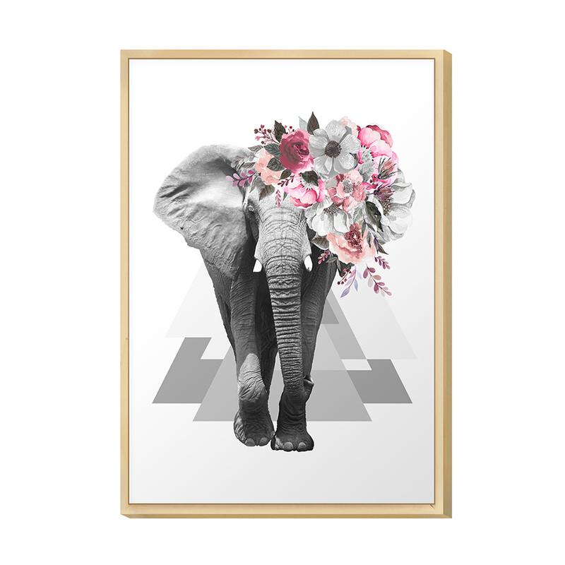Quadro Decorativo Moderno para Quarto 20x30cm Surreal Animal Elefante Floral Rosa - Hugart