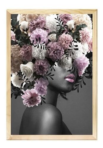 Quadro Decorativo Mulher Surreal Abstrato Flores Quarto Sala