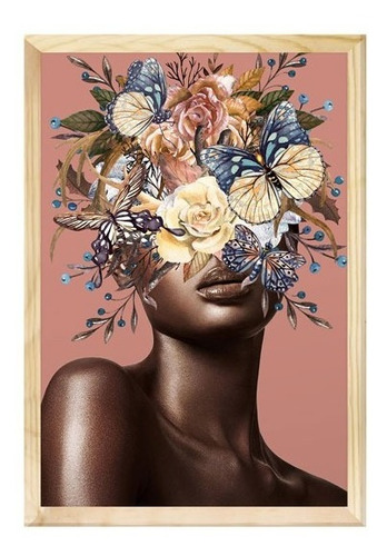 Quadro Decorativo Mulher Surreal Floral Moderno Sala 40x60